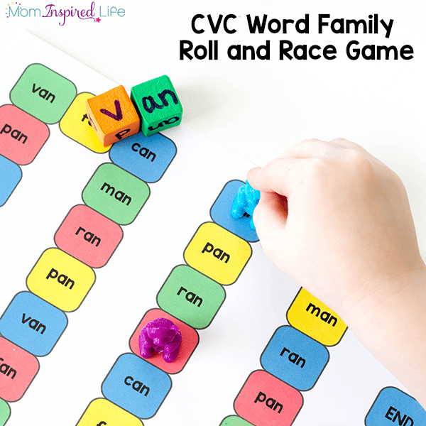 This fun CVC word families game is a fun way for kids to learn to read!