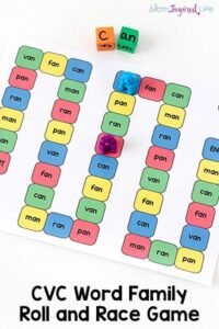 CVC Word Family Game: Roll and Race