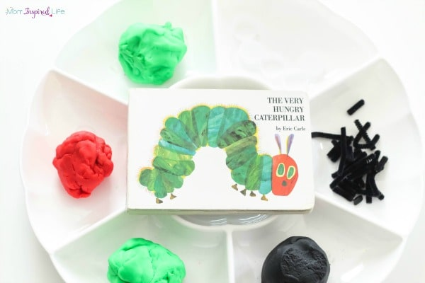 A spring play dough activity to go with the book The Very Hungry Caterpillar. Perfect for toddlers and preschoolers.
