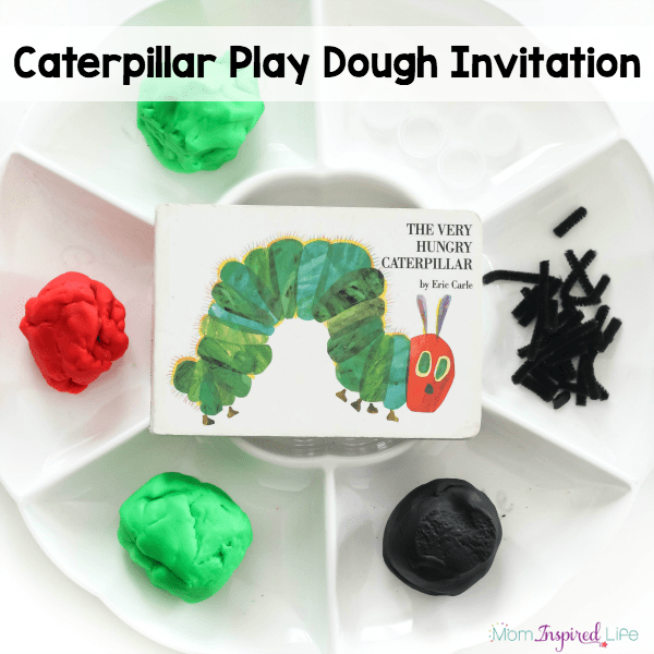 A spring caterpillar play dough invitation that kids love! It also a great way for kids to develop fine motor skills and engage in a sensory activity.