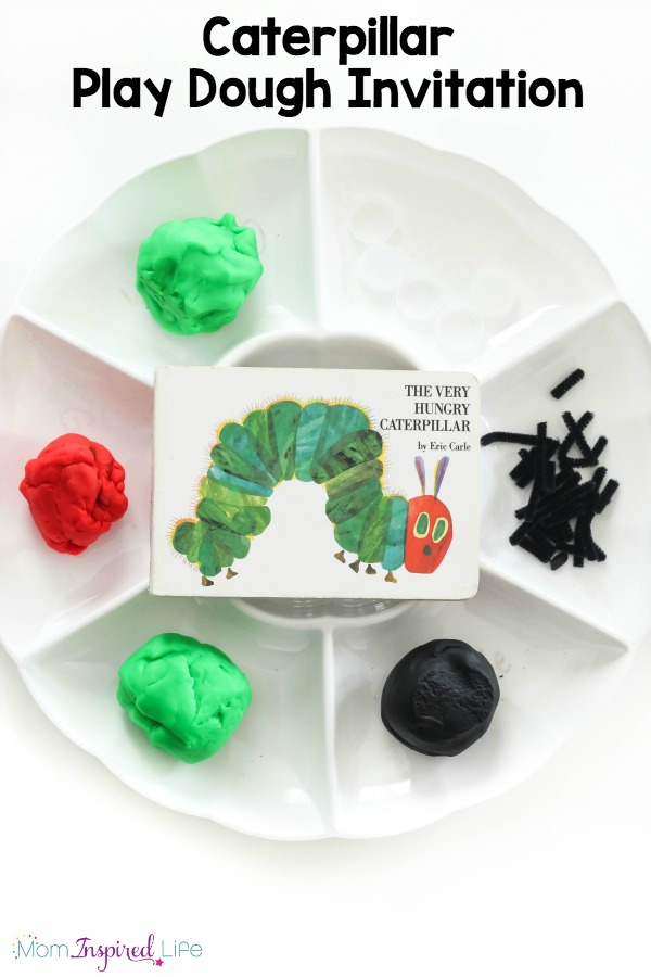 A fun caterpillar play dough invitation that kids love! This spring play dough activity is a great sensory and fine motor experience!