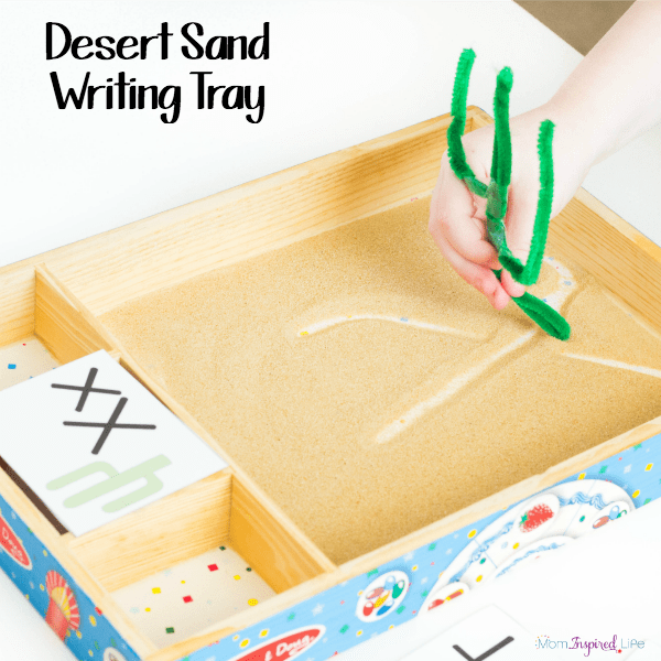 Desert sand writing tray that is a fun way to practice writing letters and more!