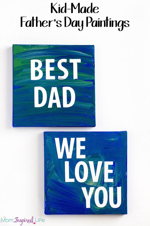 Father's Day sticker resist paintings that Dad will love! A fun and easy Father's Day gift that even the youngest kids can help make.