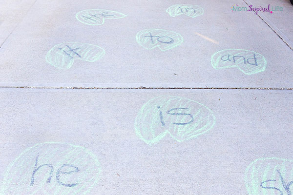 Lily pad sight word hop game for preschool and kindergarten.