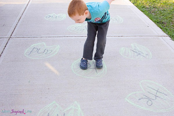 A fun sight word game that gets kids moving and developing gross motor skills!
