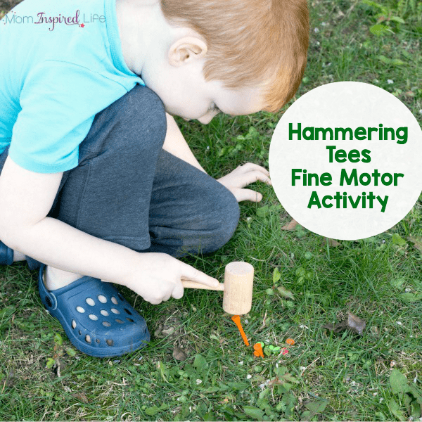 Hammering tees for fine motor practice and hand-eye coordination development.