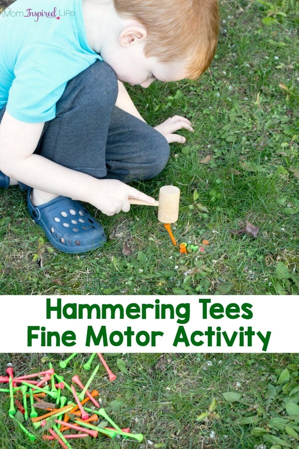 Hammering tees is great fine motor practice and perfect for developing hand-eye coordination and gross motor skills as well!