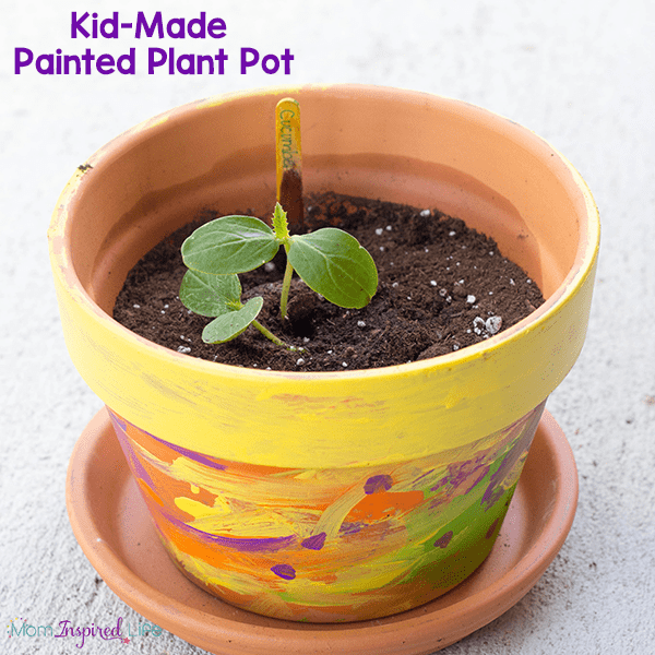 Kid-painted flower and plant pots for Mother's Day or teacher gift.