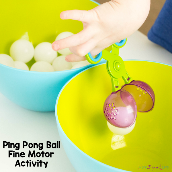 A fun fine motor game that utilizes handy scooper tongs and ping pong balls. Race to fill the bowl!