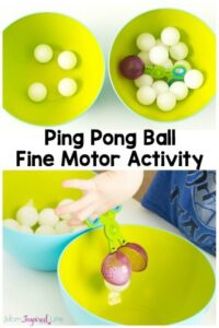 This fine motor activity utilizes ping pong balls and scooper tongs so kids can have fun and develop fine motor skills!