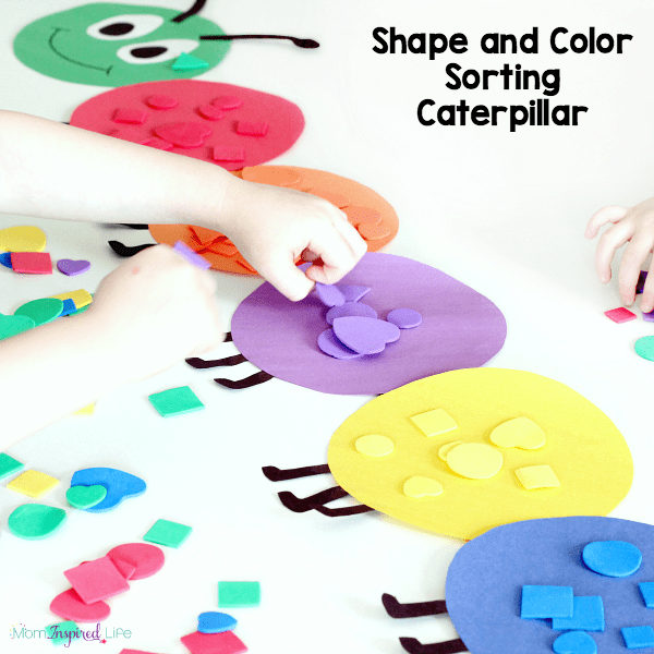 A fun color sorting caterpillar activity for kids to learn colors and shapes and even practice counting!