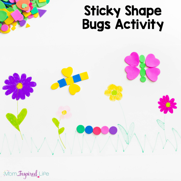 Making bugs on a sticky spring scene is a fun way for kids to develop fine motor and critical thinking skills.