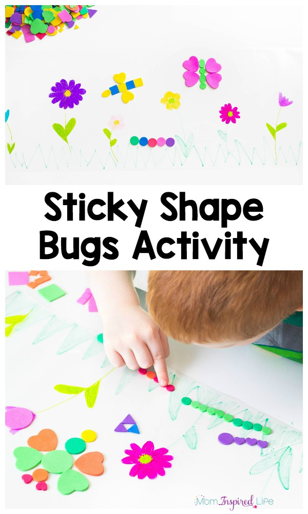 Make shape bugs on spring scene contact paper. Kids will develop fine motor and critical thinking skills!
