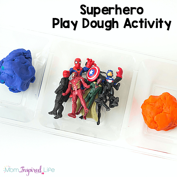 A fun super hero play dough activity that engages the senses and develops fine motor skills.