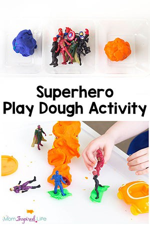 This superhero play dough activity is so much fun! It is a great way for kids to be creative, stretch their imagination, engage their senses and develop fine motor skills!
