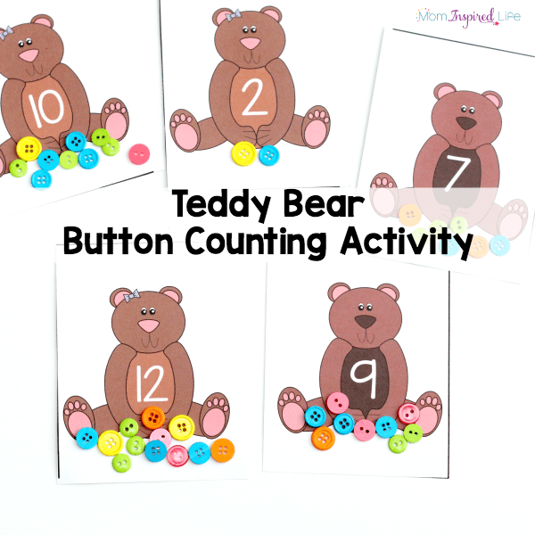 This teddy bear button counting activity is such a fun way to practice counting, number recognition and even addition!