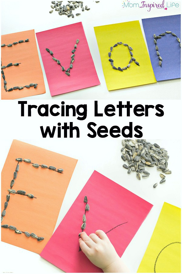 My son had a great time tracing letters with seeds! It is a fun, hands-on alphabet activity that teaches letters and helps to develop fine motor control.