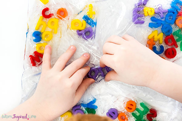 Kids will develop fine motor skills while learning the alphabet and engaging the sense of touch.