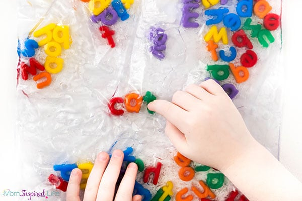 Spelling sight words and spelling words with a fun sensory bag!