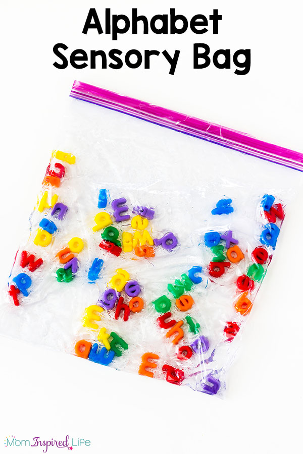 This alphabet sensory bag is such a neat, hands-on way to teach kids the alphabet! I also love that older children can use it to spell sight words or spelling words! It's an awesome activity for a literacy center or alphabet center.