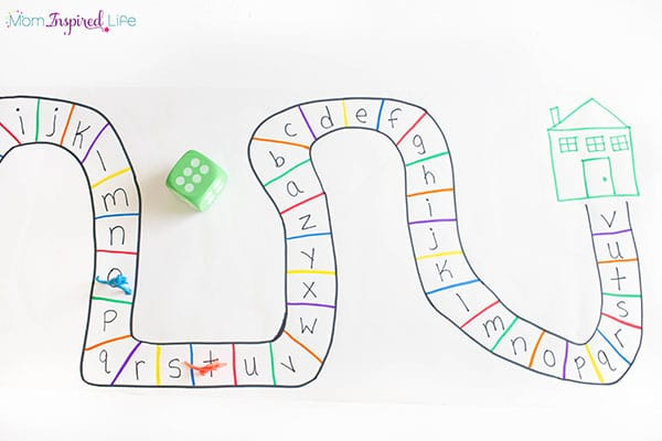 This dinosaur alphabet game is an exciting way to teach preschoolers letters and counting.