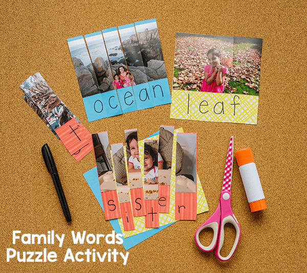 These family word puzzles are a fun, hands-on way to reinforce spelling of family words and even sight words!