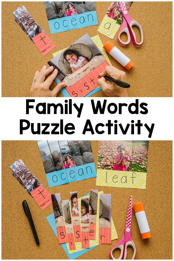 These family word puzzles are a great way for kids to learn to spell words. The pictures are the perfect guide and can even be used by toddlers or preschoolers.