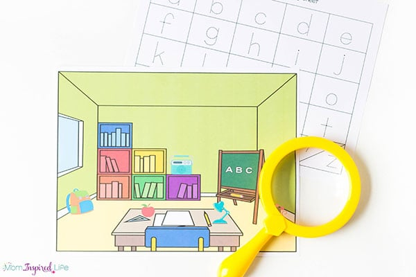 Printable alphabet I Spy activity that uses a magnifying glass.