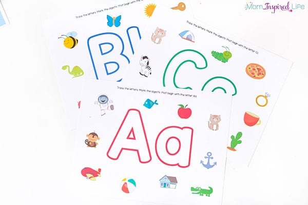 Alphabet play dough mats that reinforce beginning sound identification.