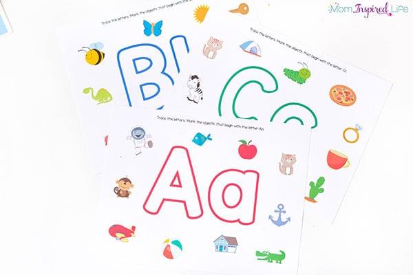 Alphabet play dough mats that reinforce beginning sound identification.