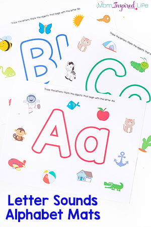 These alphabet mats are perfect for teaching the alphabet to preschoolers! It's a great way to practice letter recognition, beginning letter sounds and even writing letters! Us them with play dough or dry-erase markers!