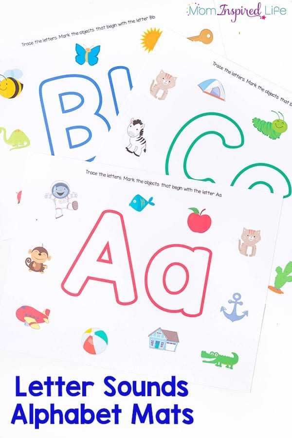 These alphabet mats are perfect for teaching the alphabet to preschoolers! It's a great way to practice letter recognition, beginning letter sounds and even writing letters! Us them with play dough or dry-erase markers! Literacy center idea!