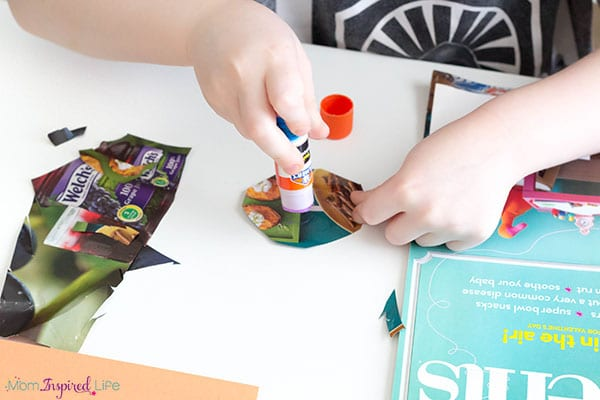 Cutting and gluing shapes from magazines is a fun way to develop fine motor skills and critical thinking skills.