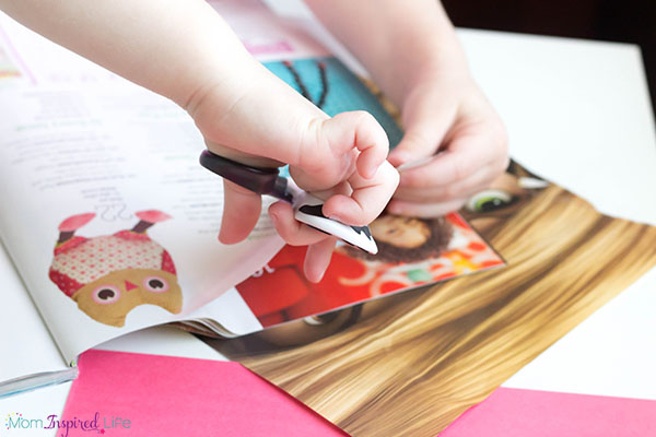 Scissor cutting practice with magazines. A fun way to practice this valuable fine motor skill.
