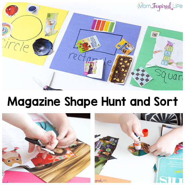 Magazine shape hunt and sort activity that develops scissor cutting skills, observation skills, critical thinking skills while practicing sorting.