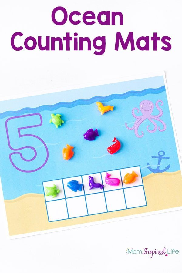 These ocean counting mats are perfect for summer and your ocean theme lesson plans. They are a great way for kids to learn number recognition, one to one coorespondence and counting! You can even use them as play dough mats.