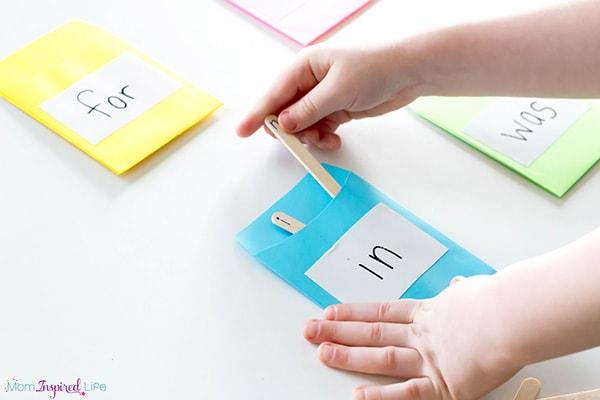 Sight word craft sticks activity for preschool.