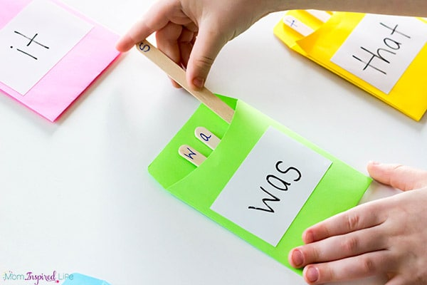 Teaching sight words with a hands-on activity that helps children learn to spell sight words.