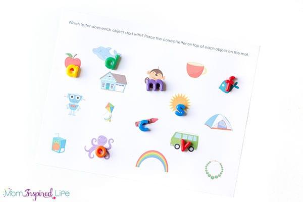 Alphabet mats for teaching beginning sound identification to kindergarten students.