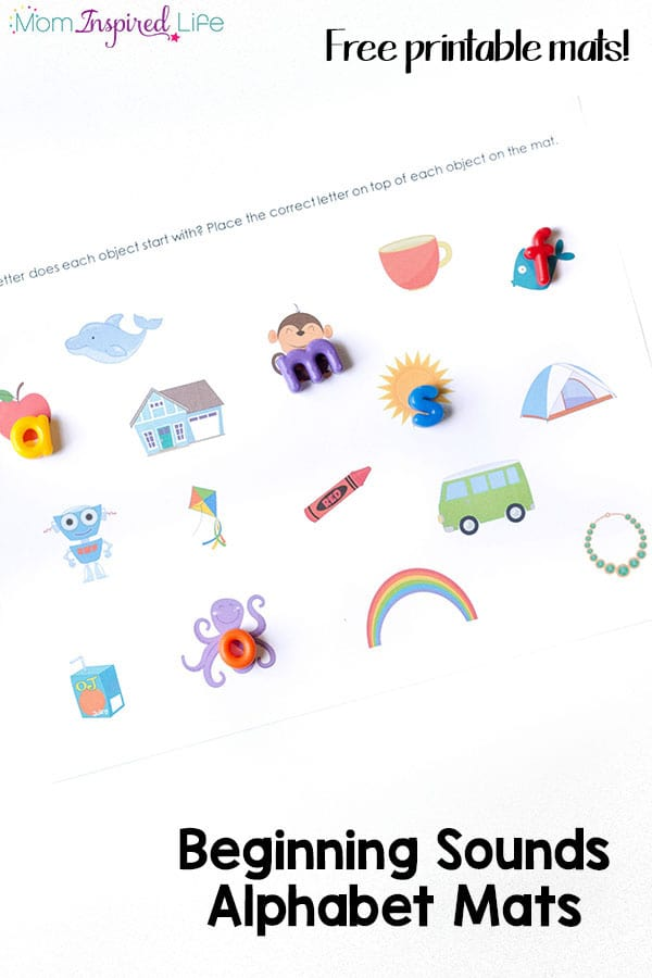 My son really enjoyed these beginning sounds alphabet mats! This hands-on literacy activity is perfect for parents and teachers who are teaching kids to read.