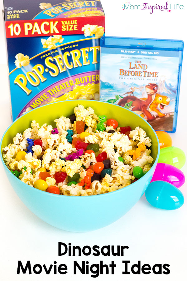These exciting dinosaur movie night ideas are sure to be a hit with the whole family! Includes a fun dinosaur surprise egg activity and a dinosaur popcorn snack that tastes awesome!