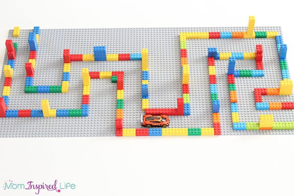 Make a cool large-scale LEGO maze that kids will love driving cars through or using for pretend play.