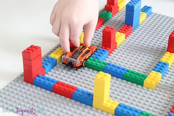 Driving cars through a super cool LEGO maze!