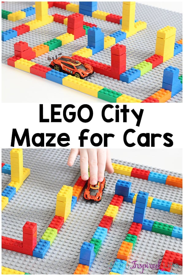 This LEGO maze city was so much fun for my son! It's an excellent way to develop critical thinking skill and fine motor skills. It's also a neat car activity or pretend play small world.