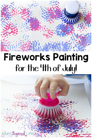 Easy Painting Fireworks Craft with a Dish Brush