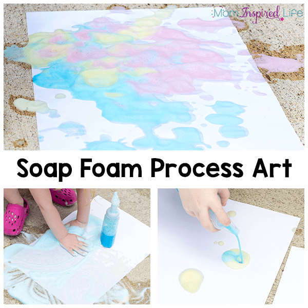 Soap foam process art activity for kids to do this summer!