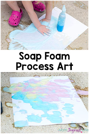 Soap foam process art activity for kids. It is the perfect outdoor art activity for summer! Plus, it's a great way to develop fine motor skills.