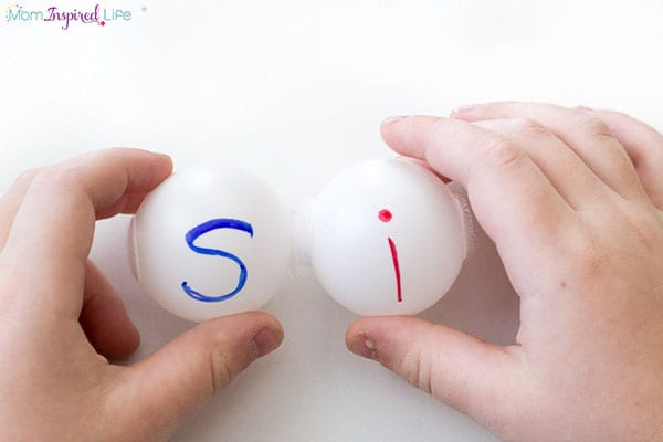 Ping pong balls that stick together and make words. A great way to practice sight words, CVC words and spelling words.