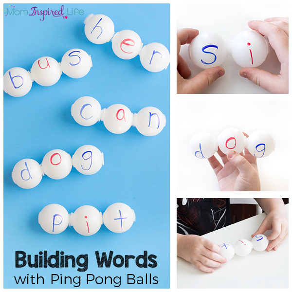 Building words with ping pong balls is a fun way for kids to learn sight words, CVC words and other spelling words!
