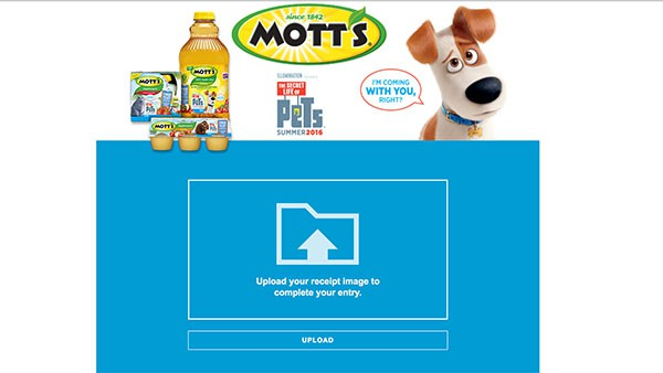 Movie tickets with Mott's Applesauce and the Secret Life of Pets.